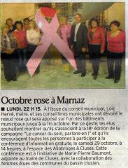 cancer du sein, marnaz, octobre rose